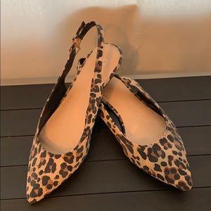 Leopard print sling back flats